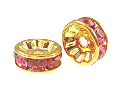 8mm Swarovski Rhinestone Rondelles Gold Plated Rose Bulk Pack of 144