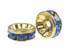8mm Swarovski Rhinestone Rondelles Gold Plated Sapphire Bulk Pack of 144