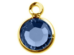 "Swarovski Crystal <font color=""FFFF00"">Gold Plated</font> Birthstone Channel Charms - Sapphire"