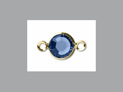 "Sapphire - Swarovski Crystal <font color=""FFFF00"">Gold Plated</font> Birthstone Channel Links, 15 x 9mm"