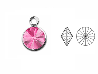 **Stone is Pointy on both sides** Swarovski Crystal Silver Plated  Birthstone Channel Charms - Rose