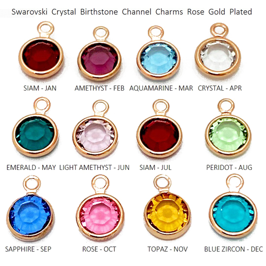 "360pc Set of Swarovski <font color=""B76E79"">Rose Gold Plated</font> Birthstone Channel Charms"