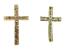 39mm Rhinestone Cross - Silver Tone