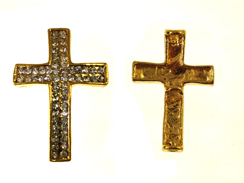 38mm Rhinestone Cross - Gold Tone