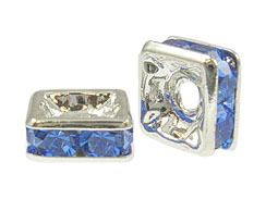 Sapphire: 4mm Sterling Silver Plated Finish Squaredelle - Swarovski