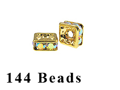 8mm Squaredelle Gold plated - Crystal AB