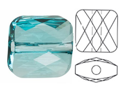 Light Turquoise - 8mm Swarovski Mini Square Bead