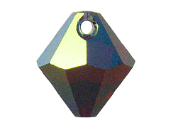 18 Swarovski 6301 8mm Faceted Bicone Pendant Siam AB