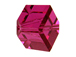 6 Fuchsia - 8mm Swarovski Faceted Offset Cube