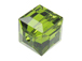 12 Olivine - 6mm Swarovski Faceted Cube Beads