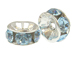 5mm Swarovski Rhinestone Rondelles Silver Plated Aquamarine Bulk Pack of 144