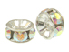6mm Swarovski Rhinestone Rondelles Silver Plated Crystal AB Bulk Pack of 144