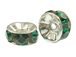 5mm Swarovski Rhinestone Rondelles Silver Plated Emerald Bulk Pack of 144