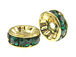 8mm Swarovski Rhinestone Rondelles Gold Plated Emerald