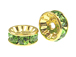 8mm Swarovski Rhinestone Rondelles Gold Plated Peridot Bulk Pack of 144
