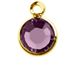 Amethyst- Swarovski Crystal Gold Plated Birthstone Channel Charms, 12 x 9mm