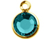 Blue Zircon - Swarovski Crystal Gold Plated Birthstone Channel Charms, 12 x 9mm
