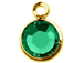 Emerald - Swarovski Crystal Gold Plated Birthstone Channel Charms, 12 x 9mm
