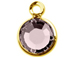 Lt. Amethyst - Swarovski Crystal Gold Plated Birthstone Channel Charms, 12 x 9mm
