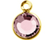 Swarovski Crystal Gold Plated Birthstone Channel Charms - Light Rose