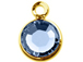 Swarovski Crystal Gold Plated Birthstone Channel Charms - Light Sapphire