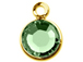 Peridot - Swarovski Crystal Gold Plated Birthstone Channel Charms, 12 x 9mm