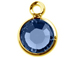 Sapphire - Swarovski Crystal Gold Plated Birthstone Channel Charms, 12 x 9mm