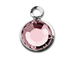 Swarovski Crystal Silver Plated Birthstone Channel Charms - Light Rose