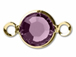 Amethyst- Swarovski Crystal Gold Plated Birthstone Channel Links, 15 x 9mm