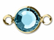 Aquamarine - Swarovski Crystal Gold Plated Birthstone Channel Links, 15 x 9mm