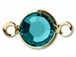 Blue Zircon - Swarovski Crystal Gold Plated Birthstone Channel Links, 15 x 9mm