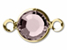 Lt. Amethyst - Swarovski Crystal Gold Plated Birthstone Channel Links, 15 x 9mm