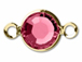Rose - Swarovski Crystal Gold Plated Birthstone Channel Links, 15 x 9mm