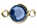 Sapphire - Swarovski Crystal Gold Plated Birthstone Channel Links, 15 x 9mm