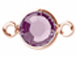 Swarovski Crystal Rose Gold Plated Birthstone Channel Links or Connectors - Amethyst