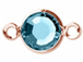 Swarovski Crystal Rose Gold Plated Birthstone Channel Links or Connectors - Aquamarine