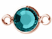 Swarovski Crystal Rose Gold Plated Birthstone Channel Links or Connectors - Blue Zircon