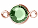 Swarovski Crystal Rose Gold Plated Birthstone Channel Links or Connectors - Peridot