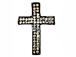 38mm Rhinestone Cross - Gun Metal Tone