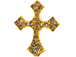 31mm Rhinestone Cross - Gold Tone