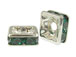 Emerald: 4mm Sterling Silvertone Finish Squaredelle - Swarovski