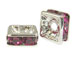 Fuchsia: 8mm Sterling Silver Plated Finish Squaredelle - Swarovski