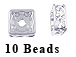 8mm Squaredelle Silver plated - Crystal