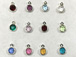 12pc Set of Swarovski Silver Plated Birthstone Channel Charms, 6.6 x 4.6mm