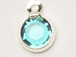 Blue Zircon - Swarovski Crystal Silver Plated Birthstone Channel Charms, 12 x 9mm