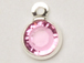 Rose - Swarovski Crystal Silver Plated Birthstone Channel Charms, 12 x 9mm