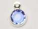 Sapphire - Swarovski Crystal Silver Plated Birthstone Channel Charms, 12 x 9mm
