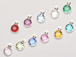 12pc Set of Swarovski Silver Plated Birthstone Channel Charms, 12 x 9mm