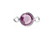 Amethyst - Swarovski Crystal Silver Plated Birthstone Channel Connectors, 8.6 x 4.6mm