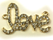 "22mm Rhinestone ""LOVE"" Charm - Gold Tone"